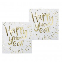 12 SERVIETTES HAPPY NEW YEAR BLANCHES