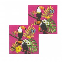 12 SERVIETTES HAWAÏ TOUCAN ROSE FUCHSIA 33X33CM