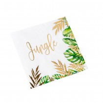 16 SERVIETTES TROPICAL JUNGLE 33X33CM 3 PLIS VERT OR