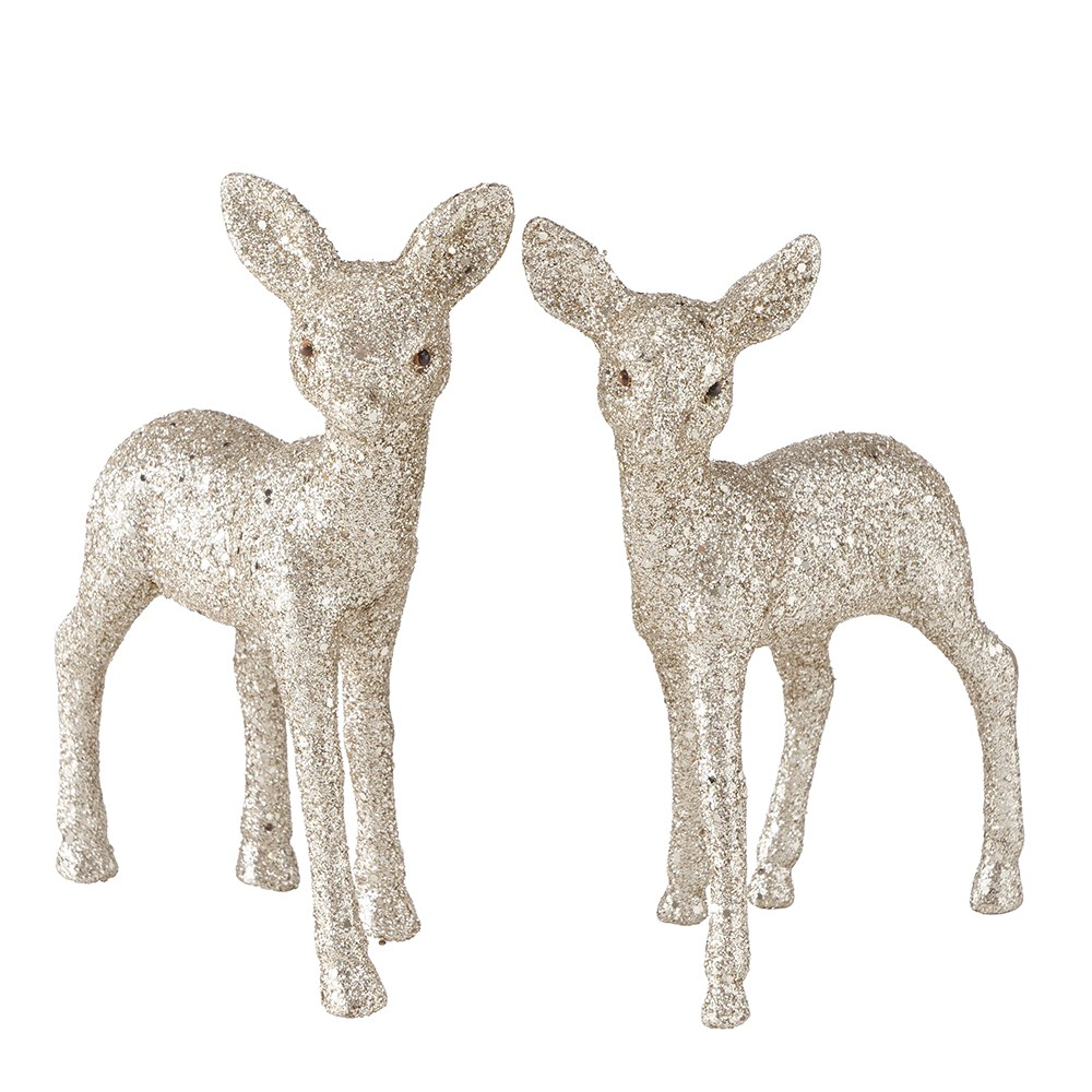 2 FIGURINES CHEVREUIL DÉCO PAILLETTES OR 15CM