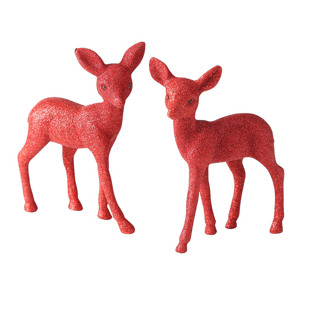 2 FIGURINES CHEVREUIL PAILLETTES/VELOURS ROUGE 15CM