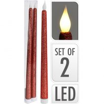 2 FLAMBEAUX LED ROUGE 38 CM