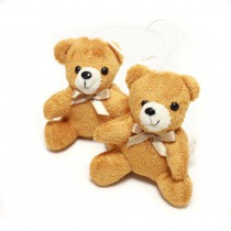 2 oursons de décoration marron en peluche