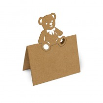 marque places kraft ourson de 12 cm - porte nom ourson kraft