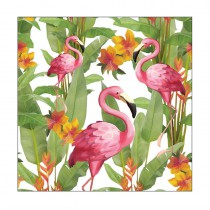 20 SERVIETTES BLANCHES FLAMINGO 33 CM