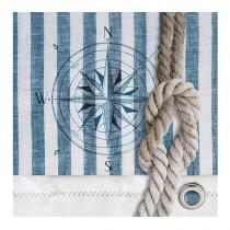 serviette jetable en papier thème mer  rayé bleu et blanc avec corde 33 cm