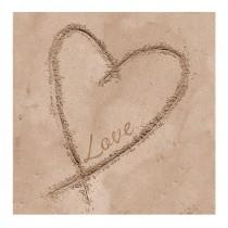 serviette en papier jetable motif coeur dessiné sur le sable 33 cm
