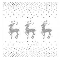 20 SERVIETTES CERF POINT ARGENT 33X33 CM