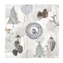 20 SERVIETTES DÉCORATIONS NATURE 33X33CM BLANC