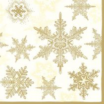 20 SERVIETTES FLOCONS DE NEIGE - OR 33X33 CM