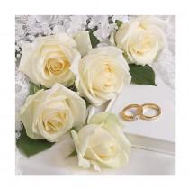 20 SERVIETTES MARIAGE ROSES BLANC 33X33CM
