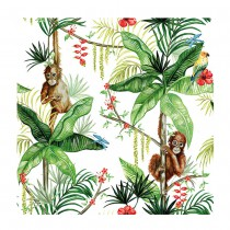 20 SERVIETTES ORANG-OUTAN JUNGLE BLANC 33X33CM