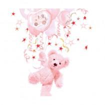 serviette en papier jetable ourson rose pour baptême de 33 cm