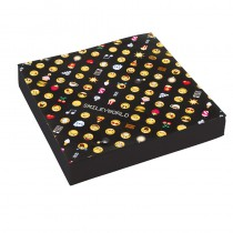 serviette jetable noire motif smiley de 33 cm