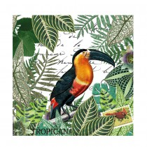 20 SERVIETTES TOUCAN RAMPHASTOS TROPICAL 33X33CM