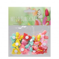 24 PAPILLONS PLASTIQUE STICKERS 2 CM