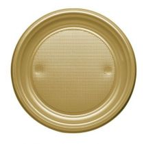 25 ASSIETTES PLASTIQUE OR MAT 17CM