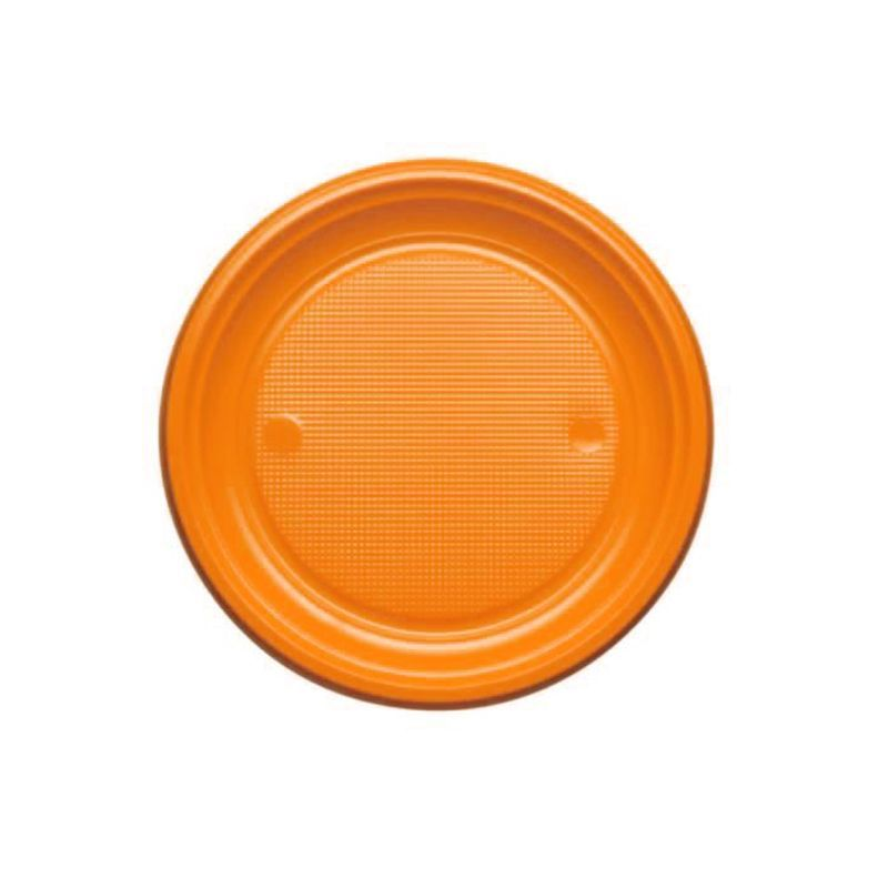 25 ASSIETTES PLASTIQUE ORANGE 17CM