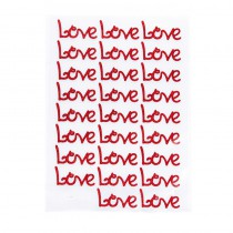 27 LOVE ROUGES AUTOCOLLANTS 4 X 2 CM