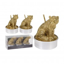 3 BOUGIES ANIMAUX SAUVAGES 37X37X55MM 2ASS