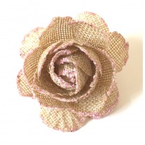 3 ROSES EN JUTE BORDURE ROSE PAILLETÉ