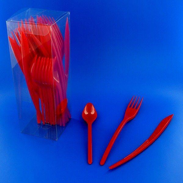 couverts plastique rouge