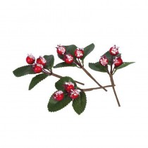 4 MINI BRANCHES BAIES ROUGES NEIGE 9CM
