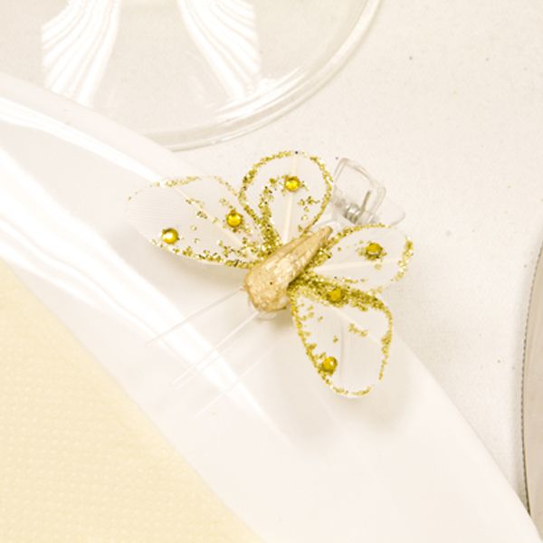 4 PAPILLONS SUR PINCE + STRASS - OR