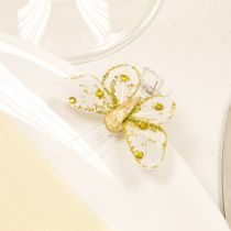4 PAPILLONS SUR PINCE + STRASS OR