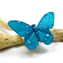 4 PAPILLONS SUR PINCE+STRASS - TURQUOISE