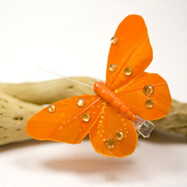 4 PAPILLONS SUR PINCE+STRASS ORANGE 8 CM