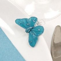 4 PAPILLONS SUR PINCE+STRASS TURQUOISE