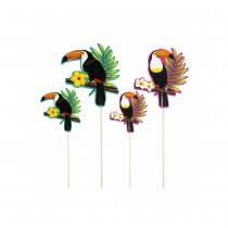 4 PICS COCKTAIL BOIS HAWAÏ TOUCAN 17.5-25CM