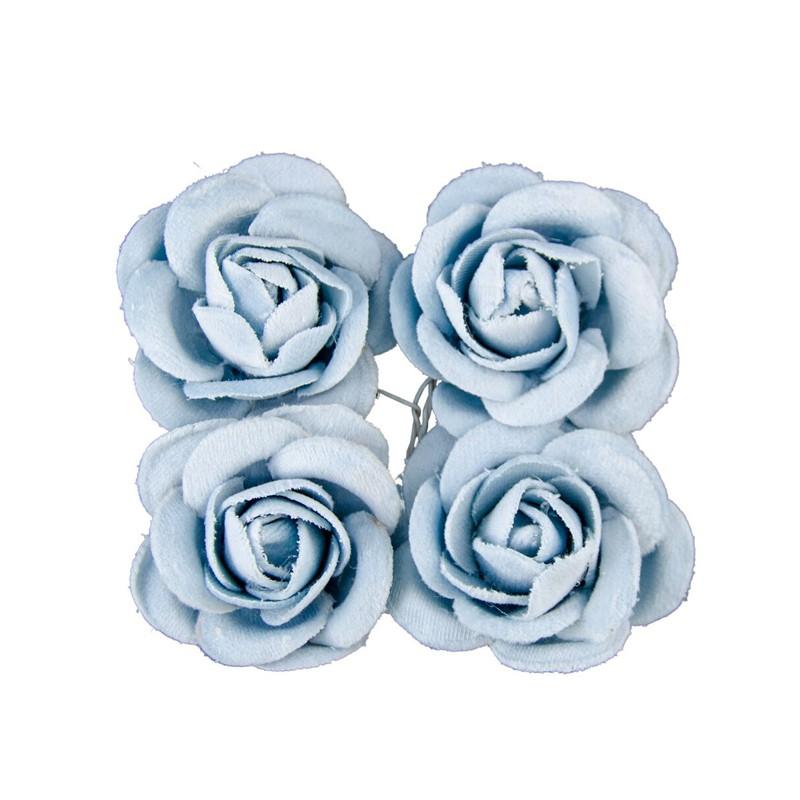 4 ROSES VELOURS BLEU PASTEL S/ TIGE