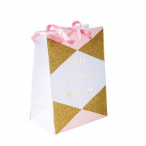 4 SACS MLLE DEVIENT MADAME 15X20CM ROSE BLANC OR