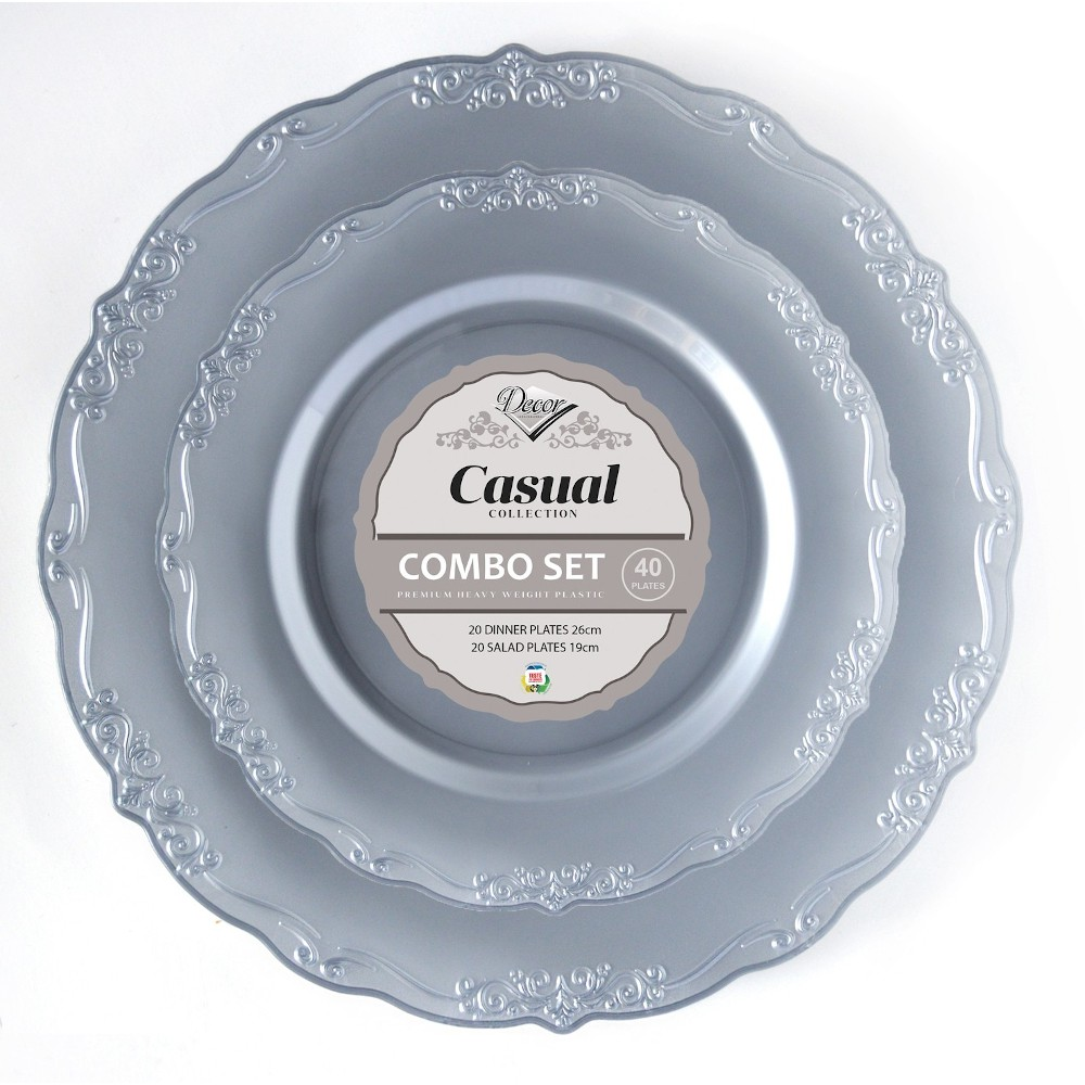 40 ASSIETTES COLLECTION CASUAL - ARGENT