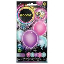 5 BALLONS À LED PASTELS UNIS ASSORTIS
