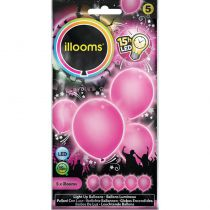 5 BALLONS À LED UNIS ROSES