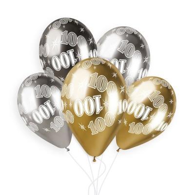 5 BALLONS BIO SHINY NOMBRE 100 33CM MULTICOLORE