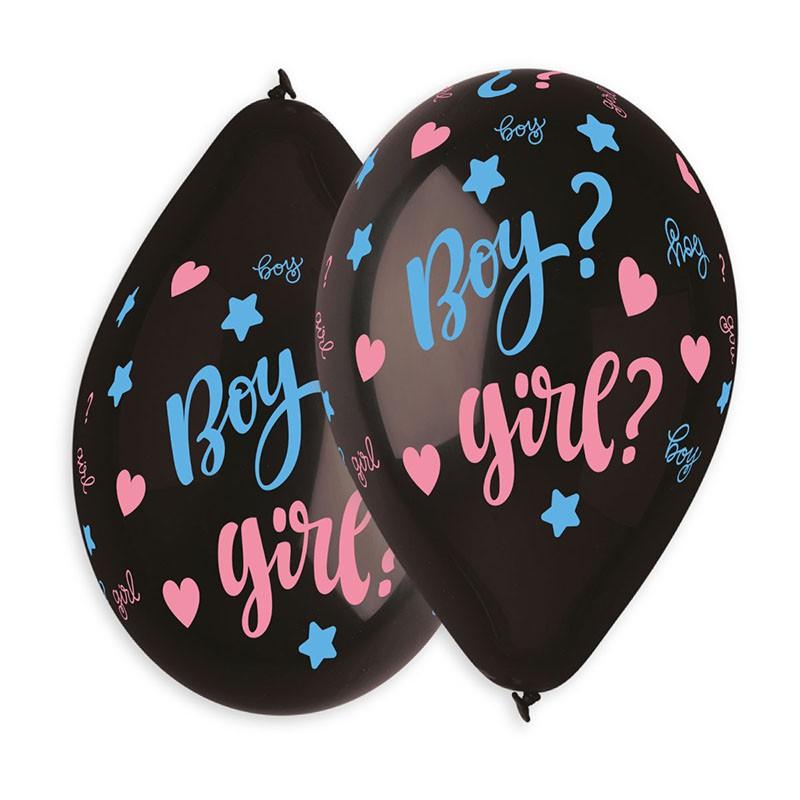5 BALLONS NOIRS BOY ? GIRL ? + CONFETTIS