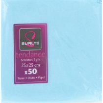 50 SERVIETTES COCKTAIL 25*25 - TURQUOISE