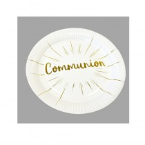 6 ASSIETTES COMMUNION OR 23CM