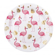 6 ASSIETTES FLAMANTS ROSES 23 CM