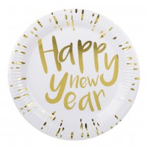 6 ASSIETTES HAPPY NEW YEAR BLANCHES