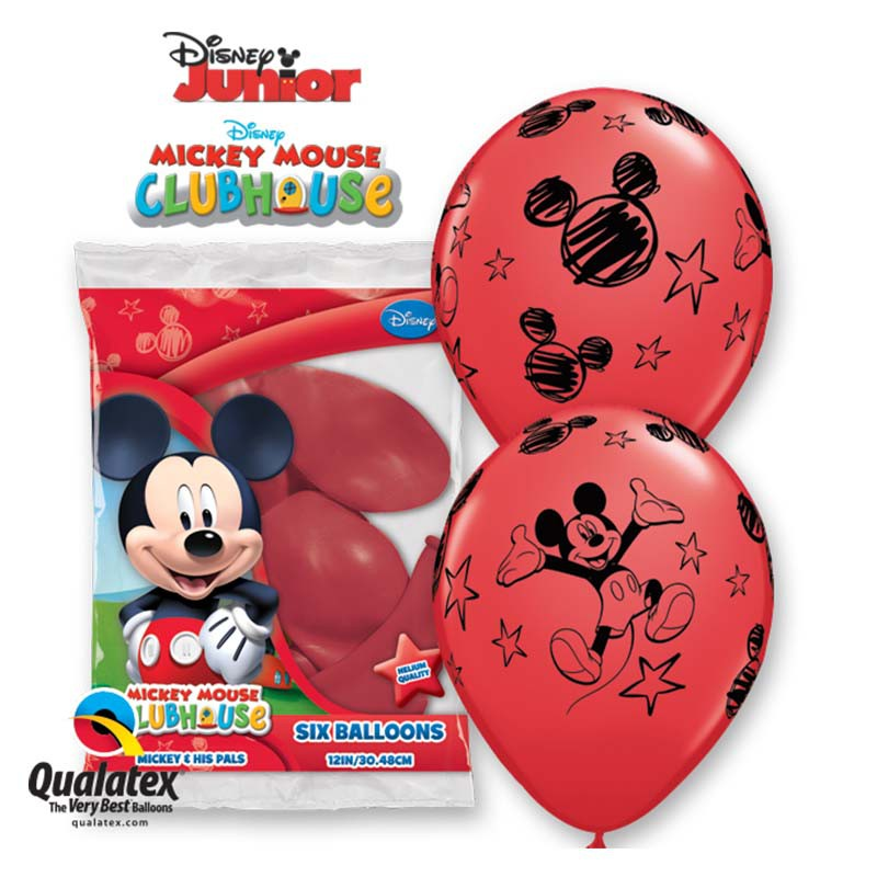 6 BALLONS LATEX MICKEY QUALATEX