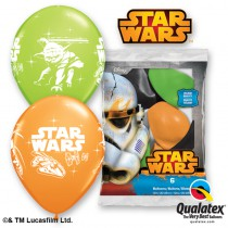 6 BALLONS LATEX STAR WARS QUALATEX