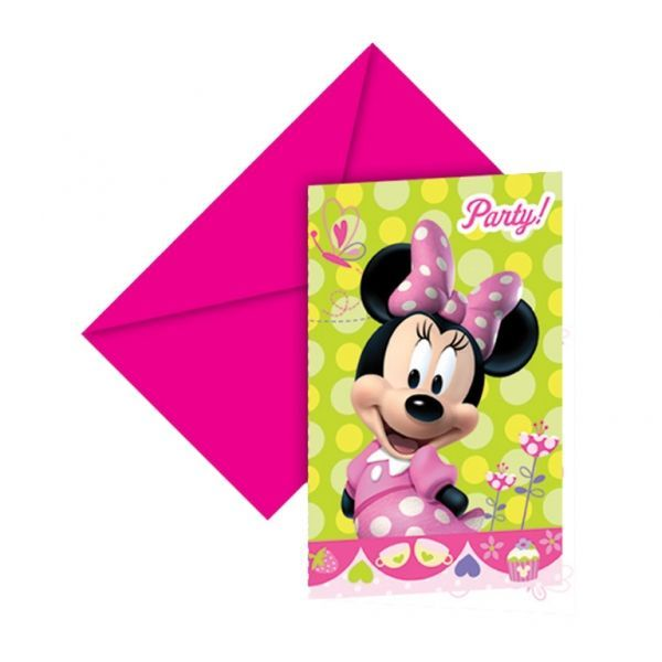 6 CARTES D'INVITATION+ENVELOPPES MINNIE