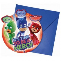 6 CARTES INVITATION + ENVELOPPES PJ MASK