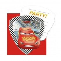 6 CARTES INVITATION CARS RACE