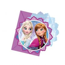 6 CARTES INVITATION REINE DES NEIGES 3